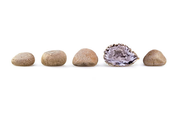 Group of rocks, one different from the rest Group of sandy brown colored rocks in a row. The odd man out is the geode. Photographed against a white background. geode stock pictures, royalty-free photos & images