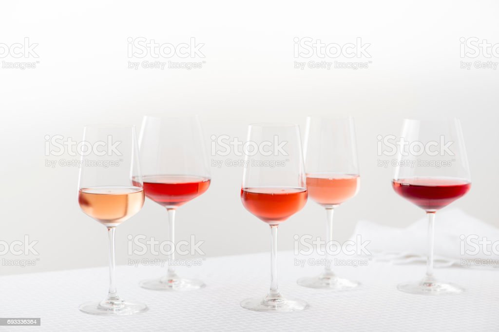 Group of Rose Wine Glasses stock photo