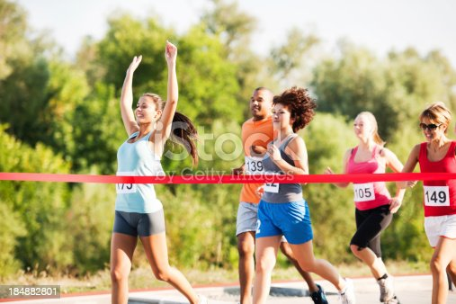 istock Group of runners finishing the race. 184882801