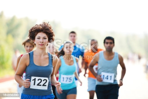 istock Group of runners in a cross country race. 184856390