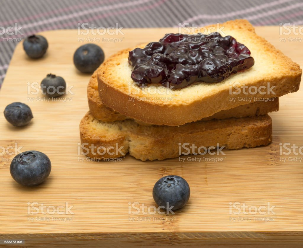 Group of rusks and berries stock photo