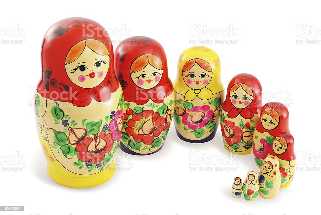 Group of Russian Dolls royalty-free stock photo
