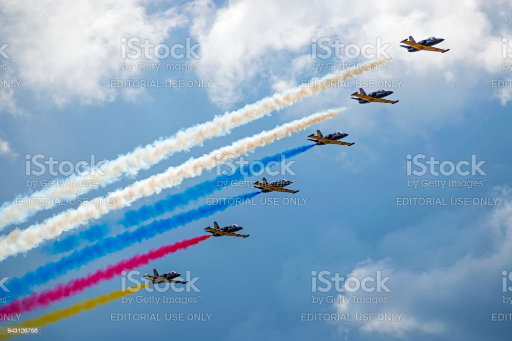 A group of Russian military aircraft on a demonstration show MAKS-2017 stock photo
