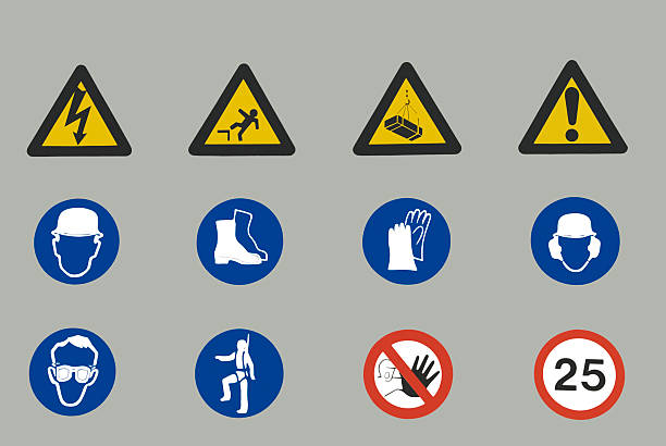 Group of Safety Signs stock photo