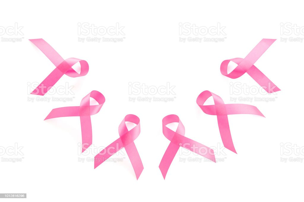 Group Of Satin Pink Ribbon Symbols Breast Cancer Awareness Campaign