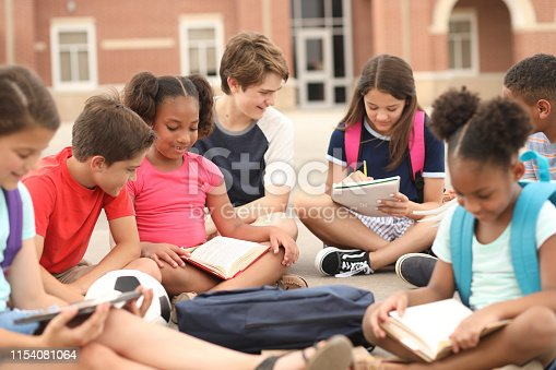 istock Group of school children, friends studying together on campus. 1154081064