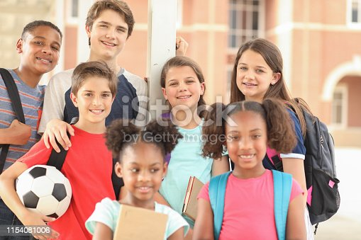 476098743 istock photo Group of school children, friends together on campus. 1154081006