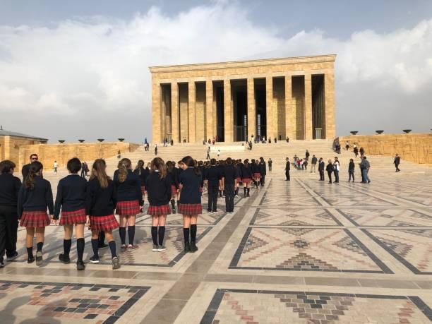 Group of school children in front of Ataturk Mausoleum in Ankara, Turkey stock photo