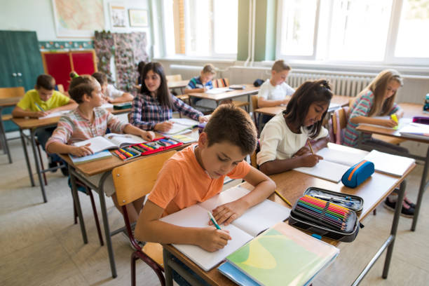 group of school children studying in the classroom. - elementary age stock photos and pictures
