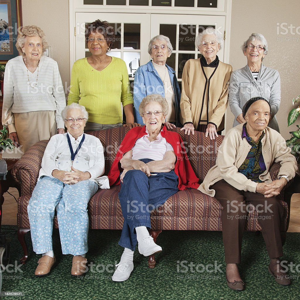 Group of Senior Adult Women at a Retirement Center royalty-free stock photo