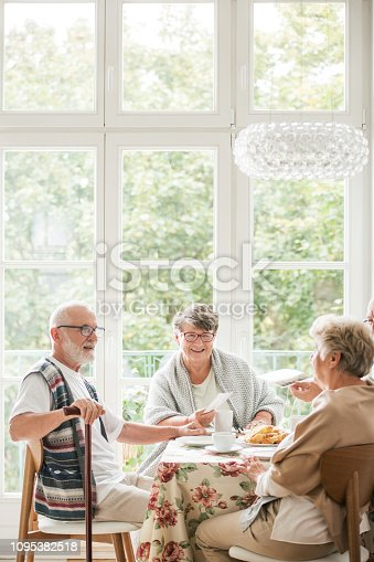 istock Group of senior friends enjoying coffee during meeting at home 1095382518