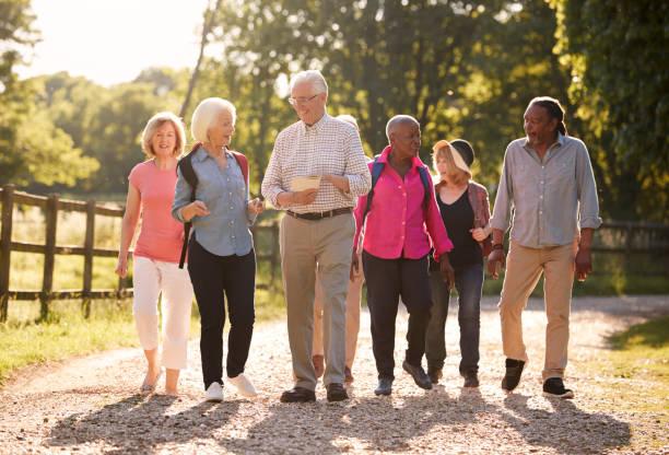 gruppe von senioren freunde wandern in natur - happy trails stock-fotos und bilder