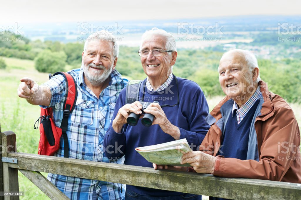 Group Of Senior Male Friends Hiking In Countryside stock photo