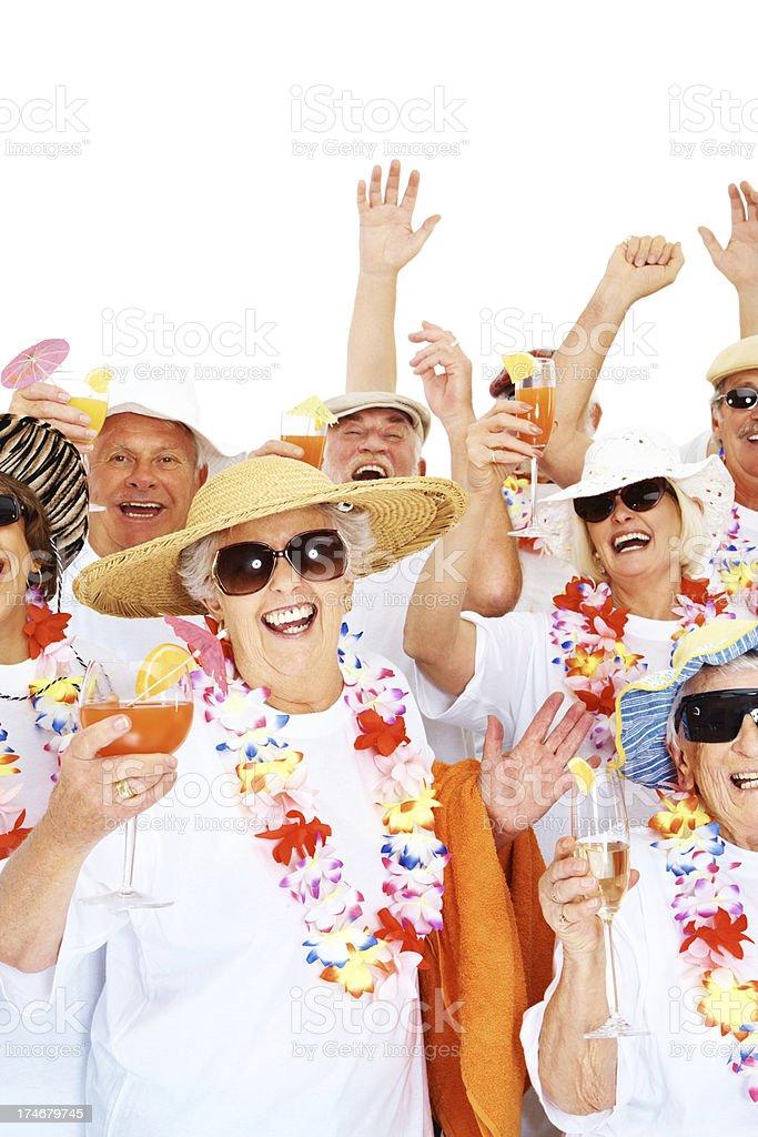 Group of senior people celebrating over white royalty-free stock photo