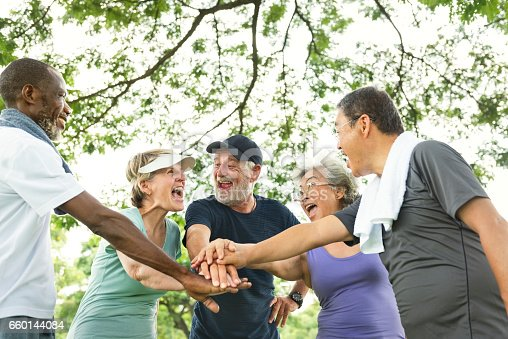 istock Group Of Senior Retirement Exercising Togetherness Concept 660144084