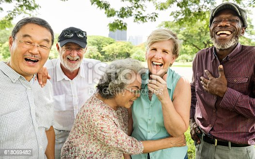 istock Group of Senior Retirement Friends Happiness Concept 618069482