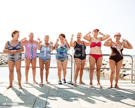 istock Group of senior women flexing their muscles 481095860