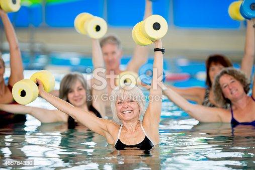 istock Group of Seniors doing Water Aerobics 465784330