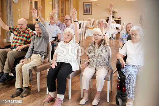 1047537292 istock photo Group Of Seniors Enjoying Fitness Class In Retirement Home 1047537290