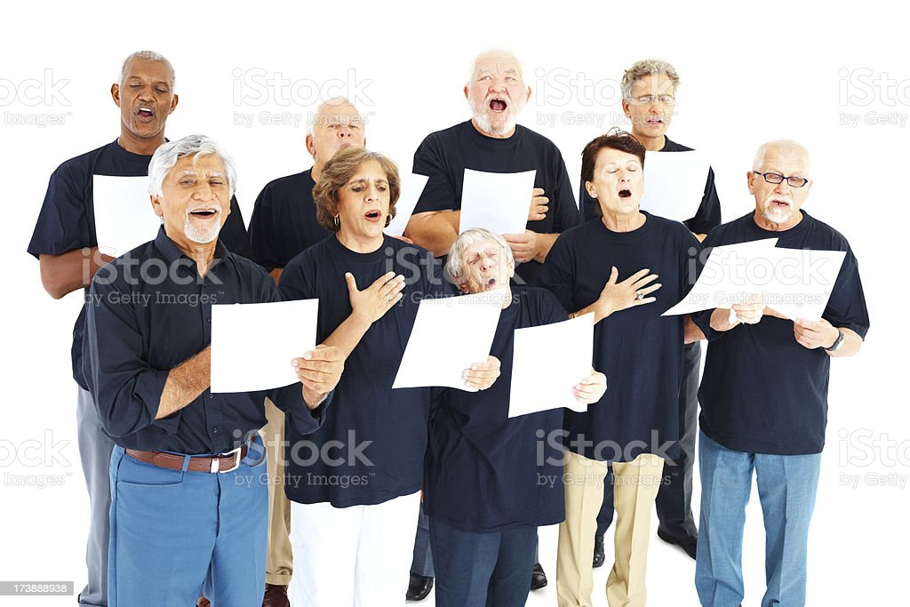 Group of seniors singing hymns stock photo