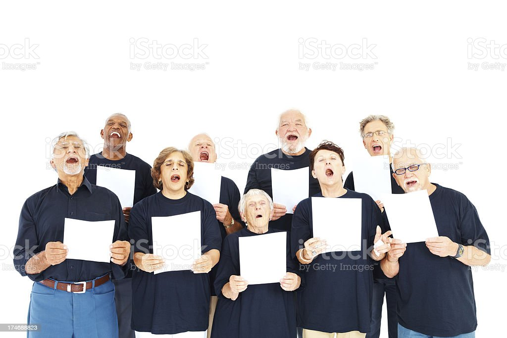 Group of seniors singing hymns royalty-free stock photo