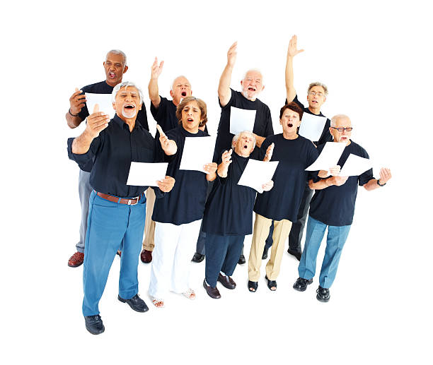 group of seniors singing on white - full length of senior people singing together against white stock photos and pictures