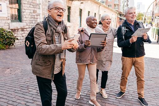 Group of seniors visiting new city