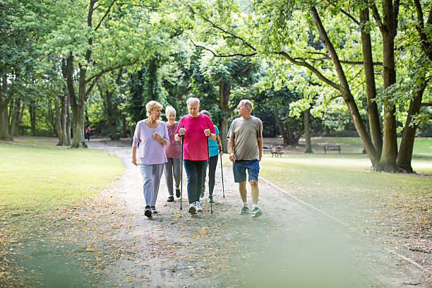Group of seniors walking in the park Group of senior men and women walking in the park nordic walking stock pictures, royalty-free photos & images