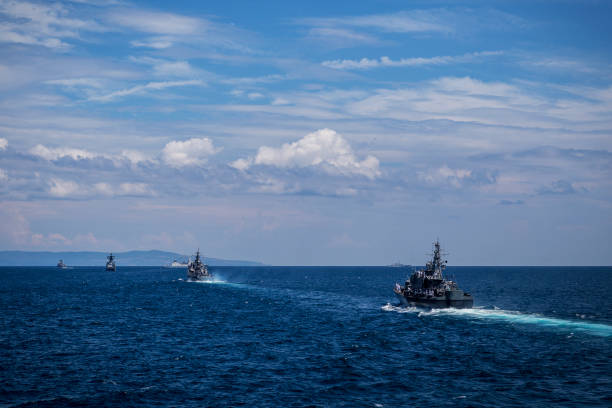 Group of ships during training in the Black Sea/Bulgaria/07.19.2018/ stock photo