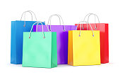 Group of shopping bags on white background