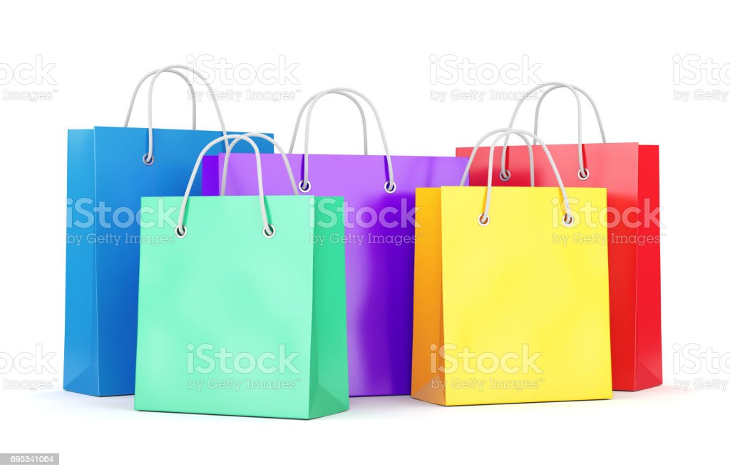 Group of shopping bags on white background stock photo