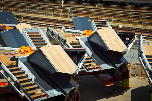 A group of short staircase units being stored at Hudson Yard in New York.
