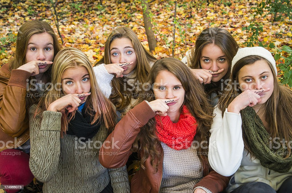 Group of six girls for Movember! royalty-free stock photo