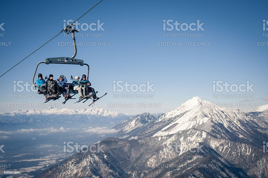 Group of skiers on a ropeway stock photo