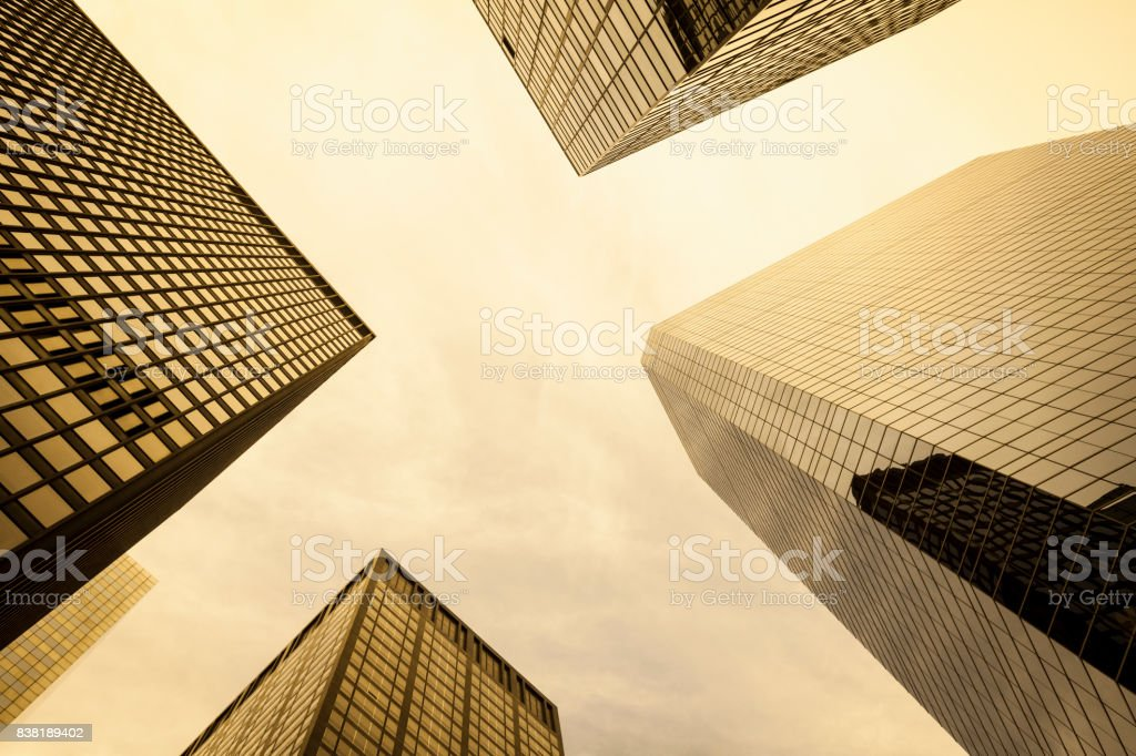 Group of skyscrapers in Manhattan financial district, New York City stock photo