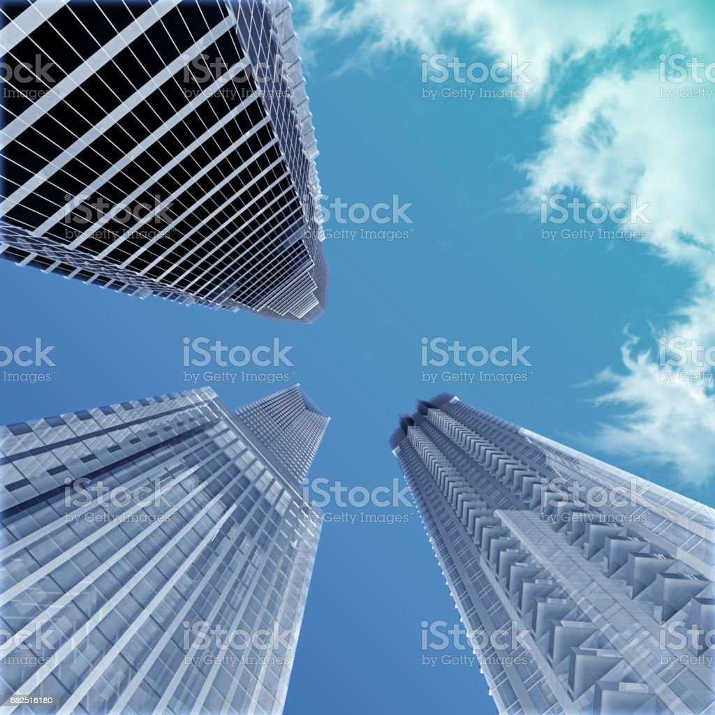 Group of skyscrapers view from below royalty-free stock photo