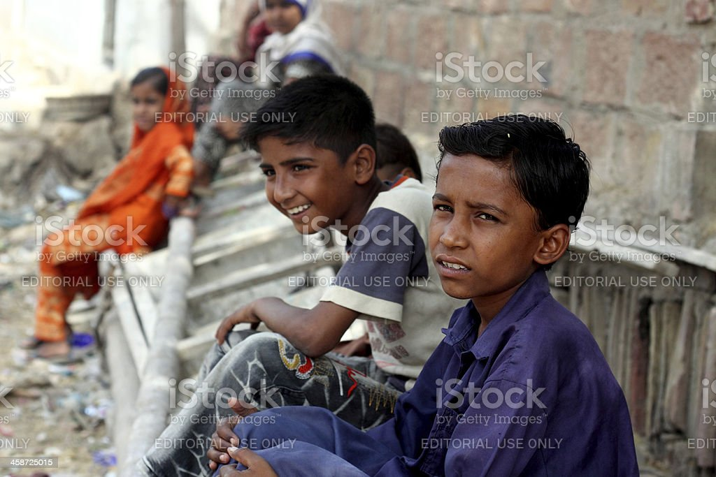 Group of Slum Children royalty-free stock photo