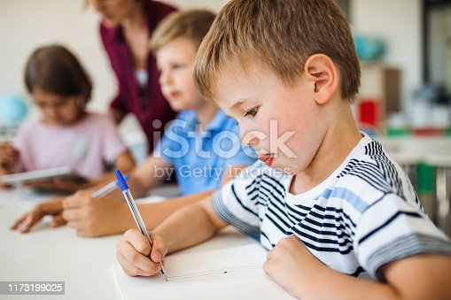A group of small school kids with teacher sitting at the desk in class writing.