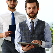 Group of smiling bearded clerk men at workplace look in camera portrait. White collar staff dress code worker job offer office client visit study profession boss market idea coach training