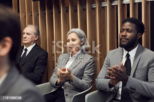 862720340 istock photo Group of smiling interracial business participants in formal suits being in anticipation of speaker sitting on chairs in row 1191598238