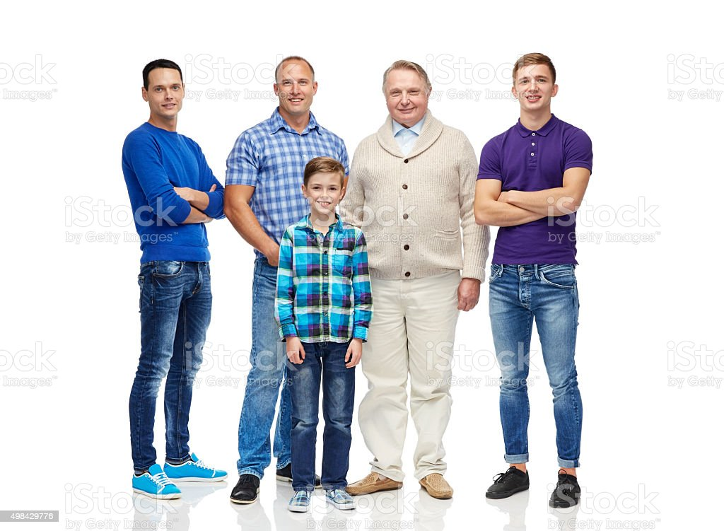 group of smiling men and boy stock photo