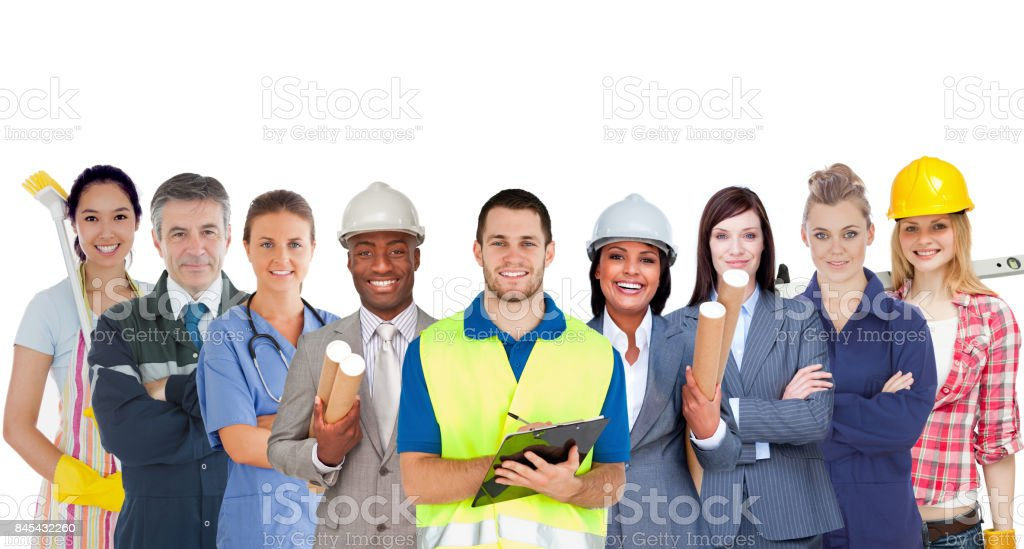Group of smiling people with different jobs standing in line stock photo