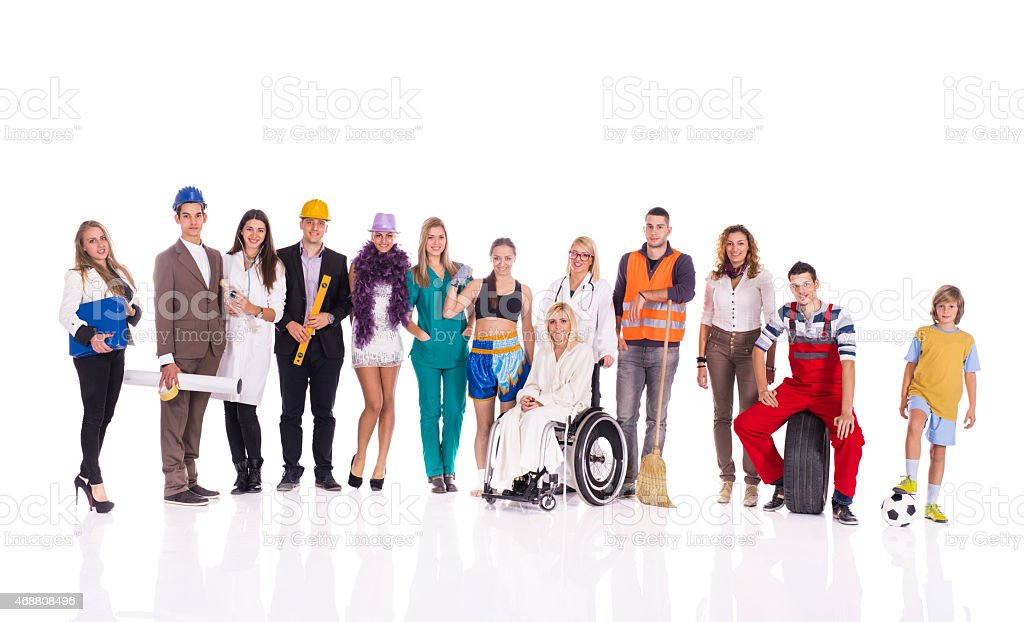 Group of smiling people with different occupations isolated on white. stock photo