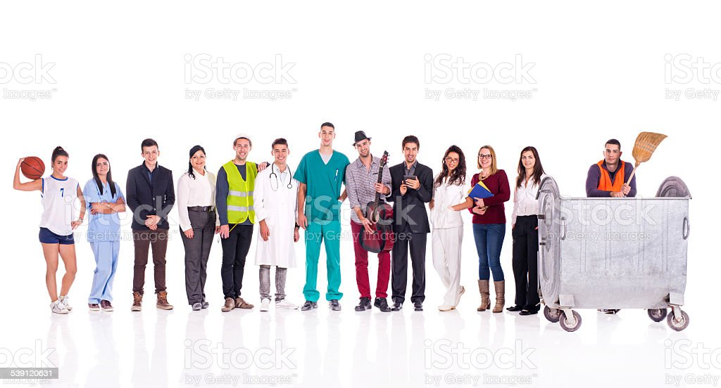Group of smiling people with different occupations. stock photo