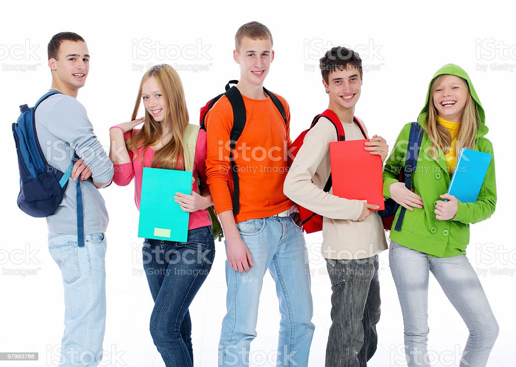 Group of smiling teenagers royalty-free stock photo
