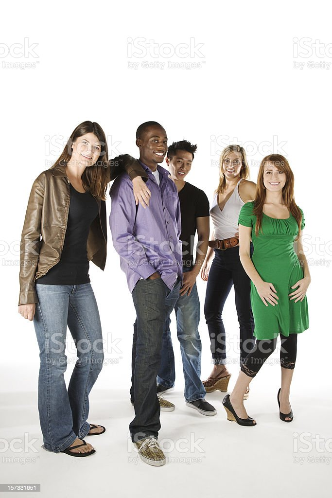 Group of smiling young adults, isolated on white background royalty-free stock photo