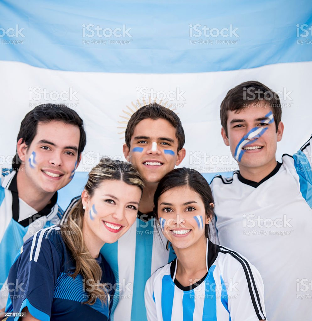 Group of soccer fans stock photo