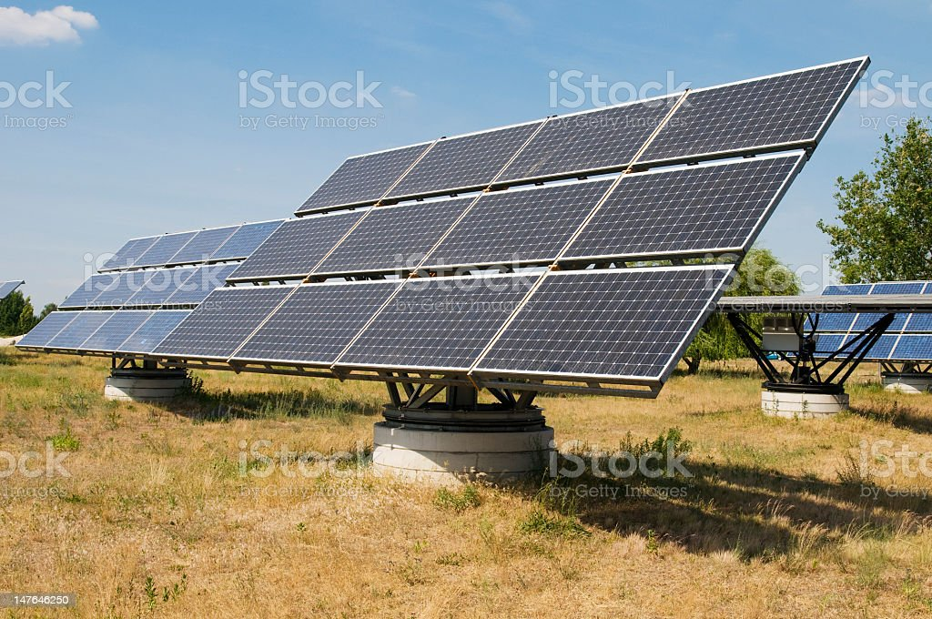 group of solar panels royalty-free stock photo
