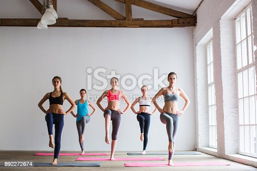 istock Group of sportive people in a gym training. 892272674