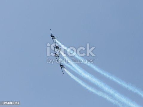 istock A group of  sports airplanes show in the sky an aerobatic show dedicated to the 70th anniversary of the Independence of Israel 950683234